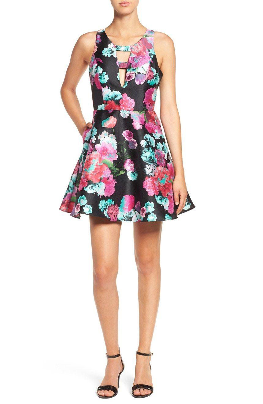 Floral print fit u flare dress flare black heels and floral