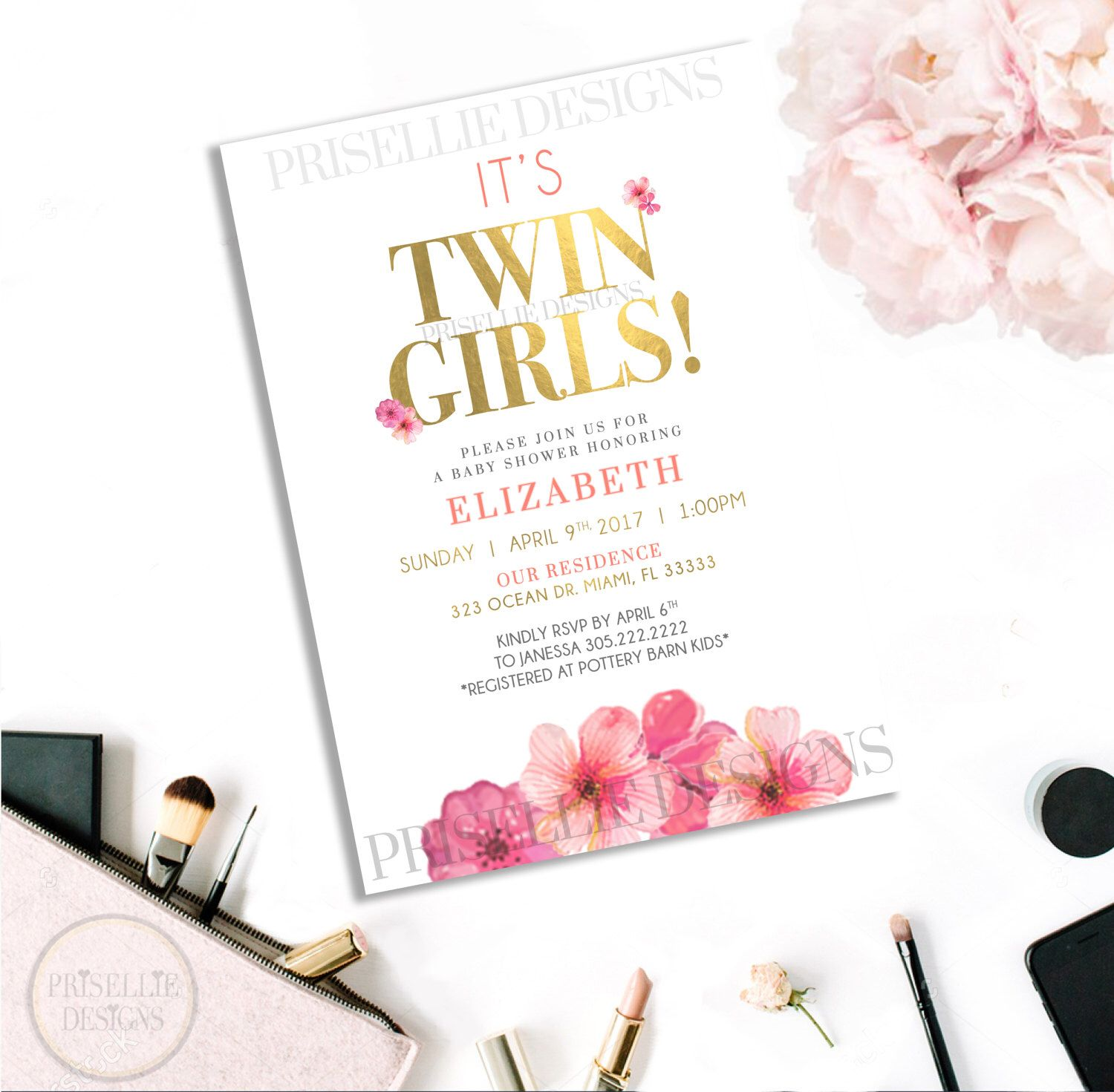 Etsy Twin Girl Baby Shower Baby Shower For Twins Invitations ...