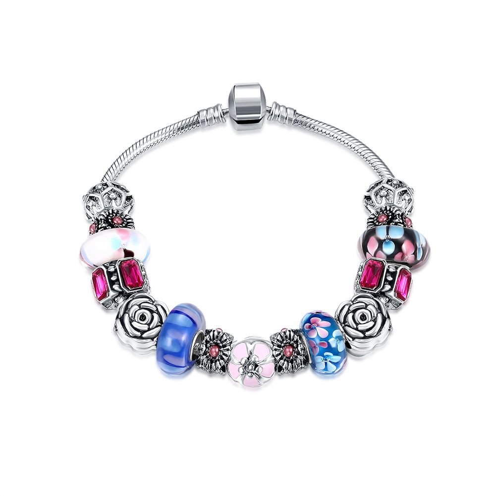top european trendy silver plated bracelet mysterious colorful