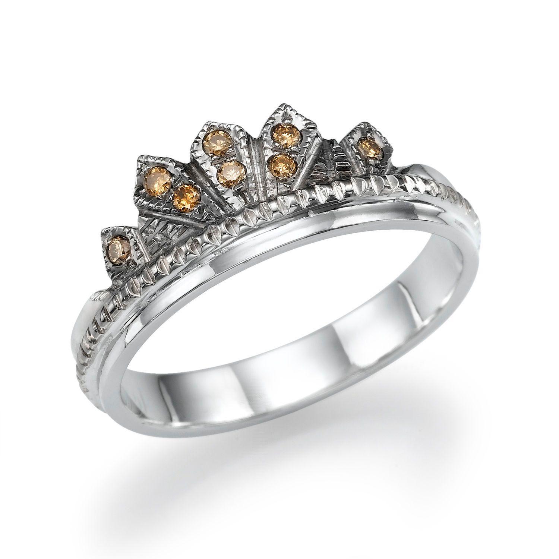New to shireeodiz on Etsy Champagne Diamond Wedding Band