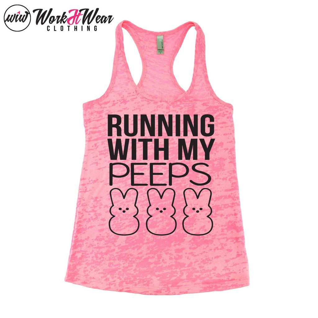 61584f12 Running With My Peeps Workout Tank Top. Running Tank. Funny Easter Workout.  Chillin with my Peeps. Easter. Running Shirt. Bite Me. Bunny Tee