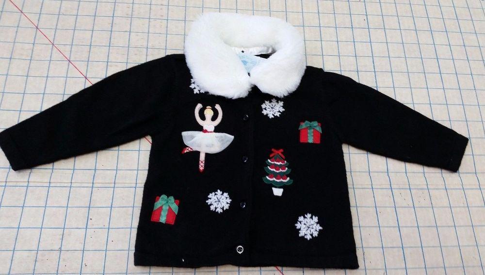 Hartstrings Girls 18M Black Cardigan Fur Collar Sweater Snowflake 3D Ballerina #Hartstrings #Cardigan #DressyHoliday