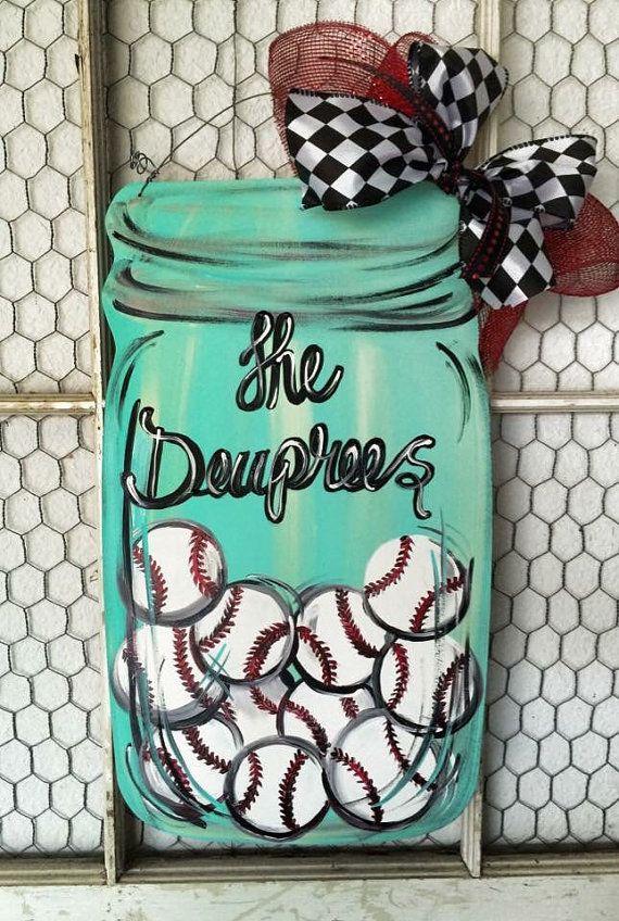 Baseball Mason Jar Door Hanger by LaurieColeDesigns on Etsy | Door ...