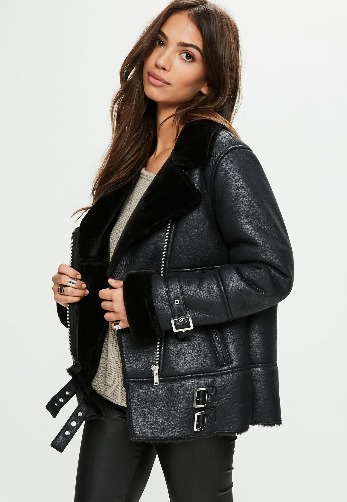 Missguided Black Aviator Jacket Aviator jackets, Faux