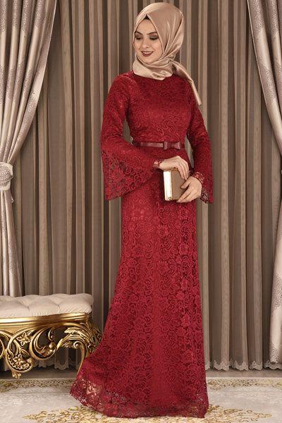 8359d310df536 modamerve - Valon Kol Dantel Abiye Elbise Kırmızı ANG 39063 ...