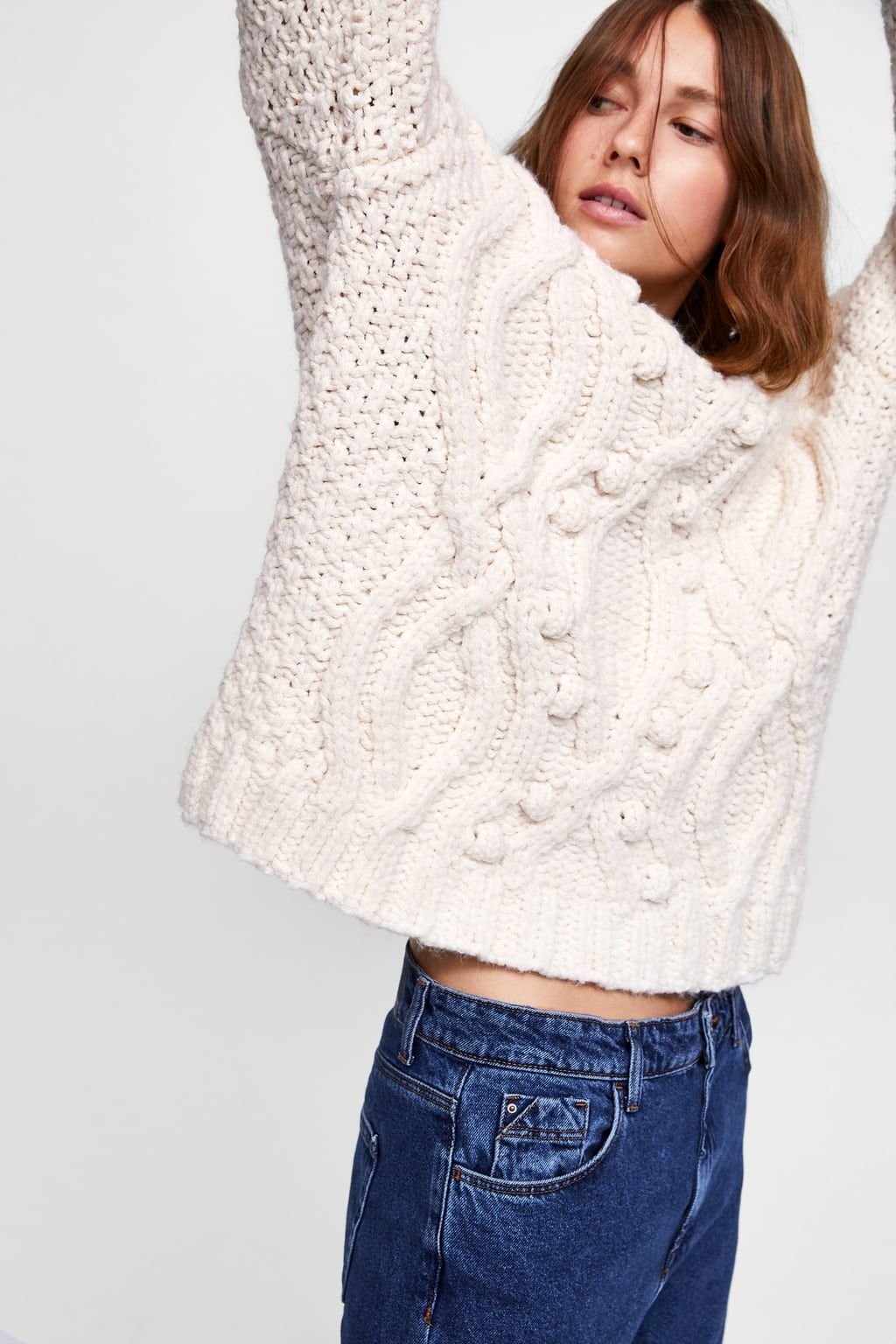 662b1836684df2 Image 6 of CABLE-KNIT POMPOM SWEATER from Zara