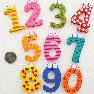 free shipping Wholesale   kid's digital wooden fridge magnet number 0 9 sign wooden magnetic stickers Children's Gift-in Fridge Magnets from Home & Garden on Aliexpress.com