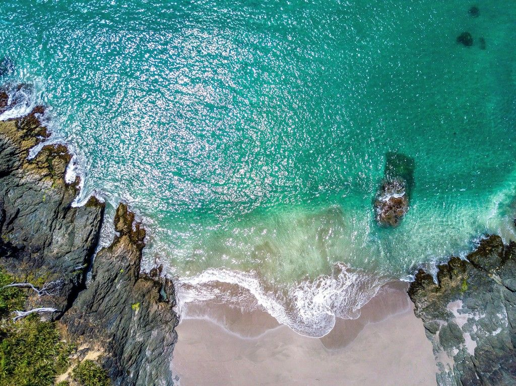 Green Sea Beach Aerial View Wallpaper