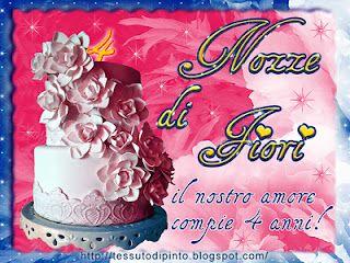 Anniversario Di Matrimonio 4 Anni.Tessuto Dipinto Ad Arte Con Immagini Anniversario Di