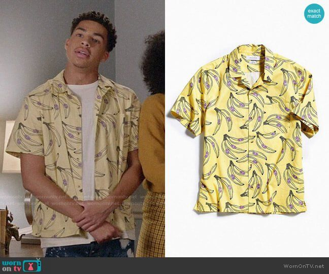 bbdf6c2202 Junior s yellow banana print shirt on Black-ish. Outfit Details  https
