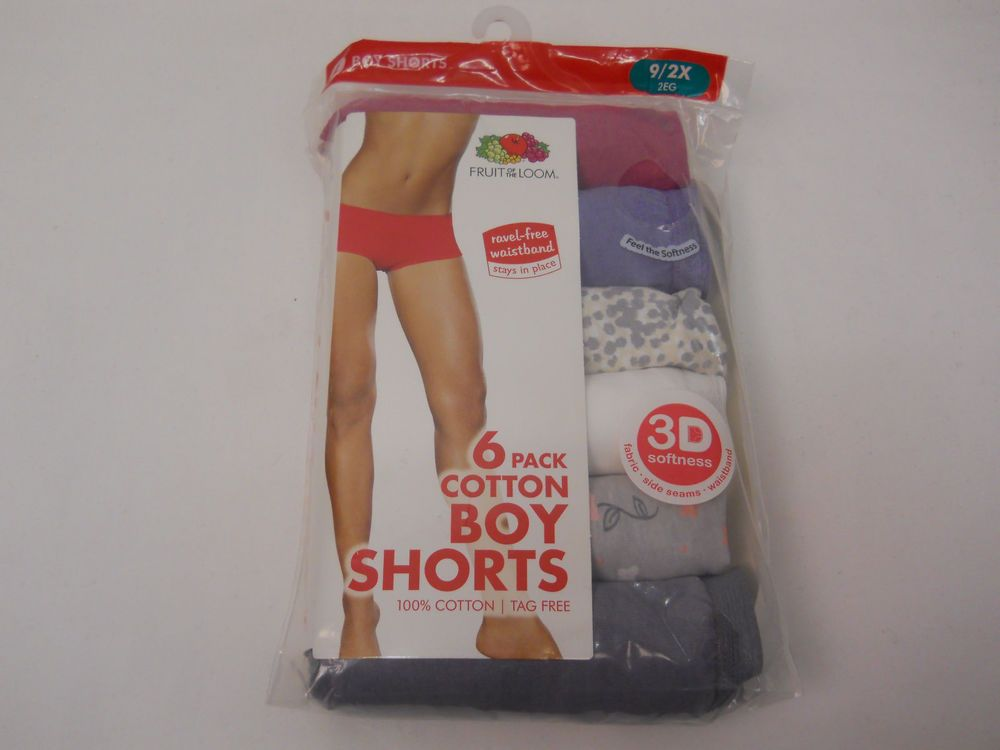 Fruit of the Loom Womens 6 Pack Assorted Cotton Boyshort Panties