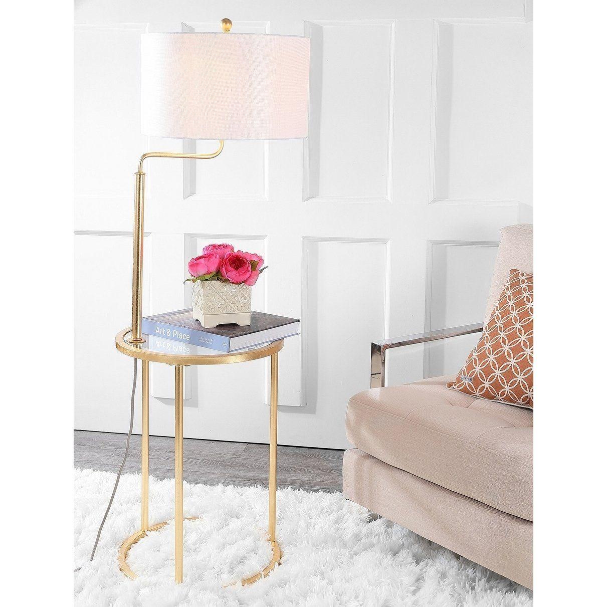 Safavieh Lighting 57inch Crispin Gold Side Table LED
