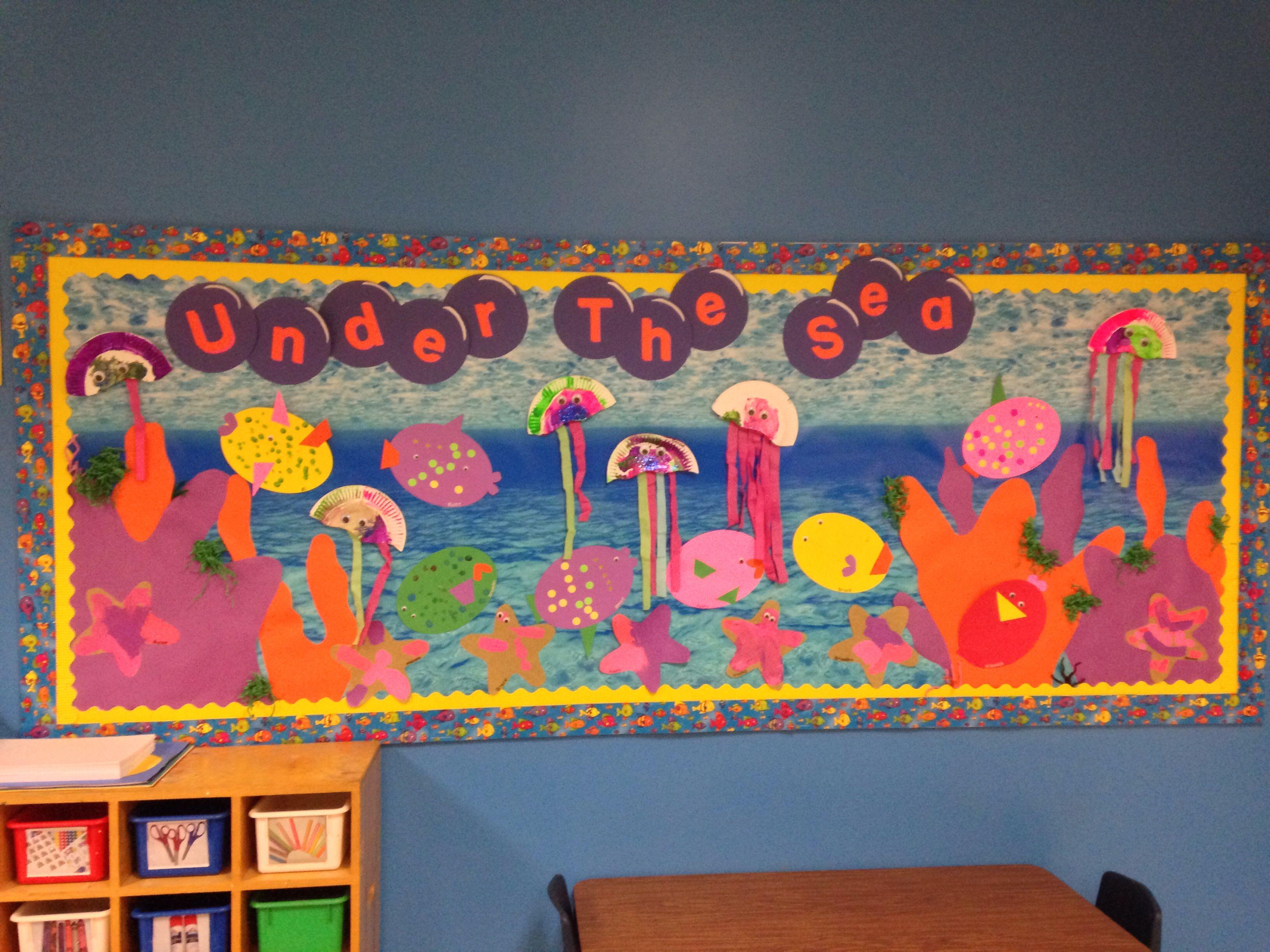 Under The Sea Ocean Theme Preschool Bulletin Board Jellyfish Ocean Fish Amp Sea Stars