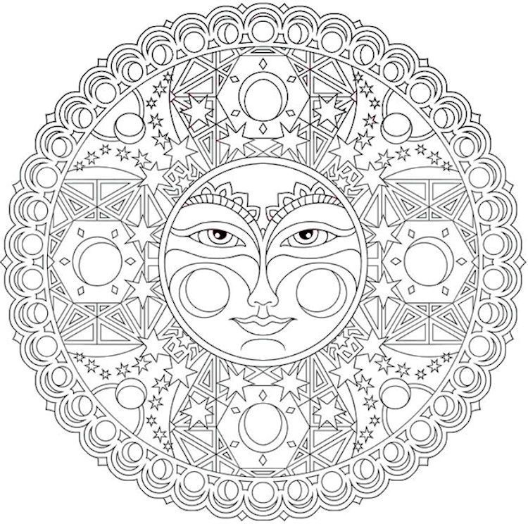 Dover Creative Haven Celestial Mandalas Coloring Page 2 Moon Coloring Pages Mandala Coloring Pages Mandala Coloring Books