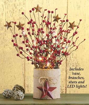 Lighted Country Berry Branches Primitive Table Decor