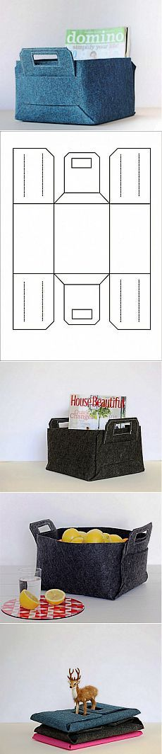 Sewing project, maybe recycle cardboard and jeans or old curtains? -1001tips. Bonita caja de fieltro.Patrón