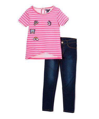Pink & White Stripe Tee & Dark Blue Denim Jeans - Toddler & Girls #zulily #zulilyfinds