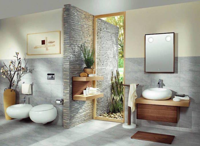 Salle de bain beige et gris \u2013 pierre deviendra sable Pinterest - peinture pour carrelage mural
