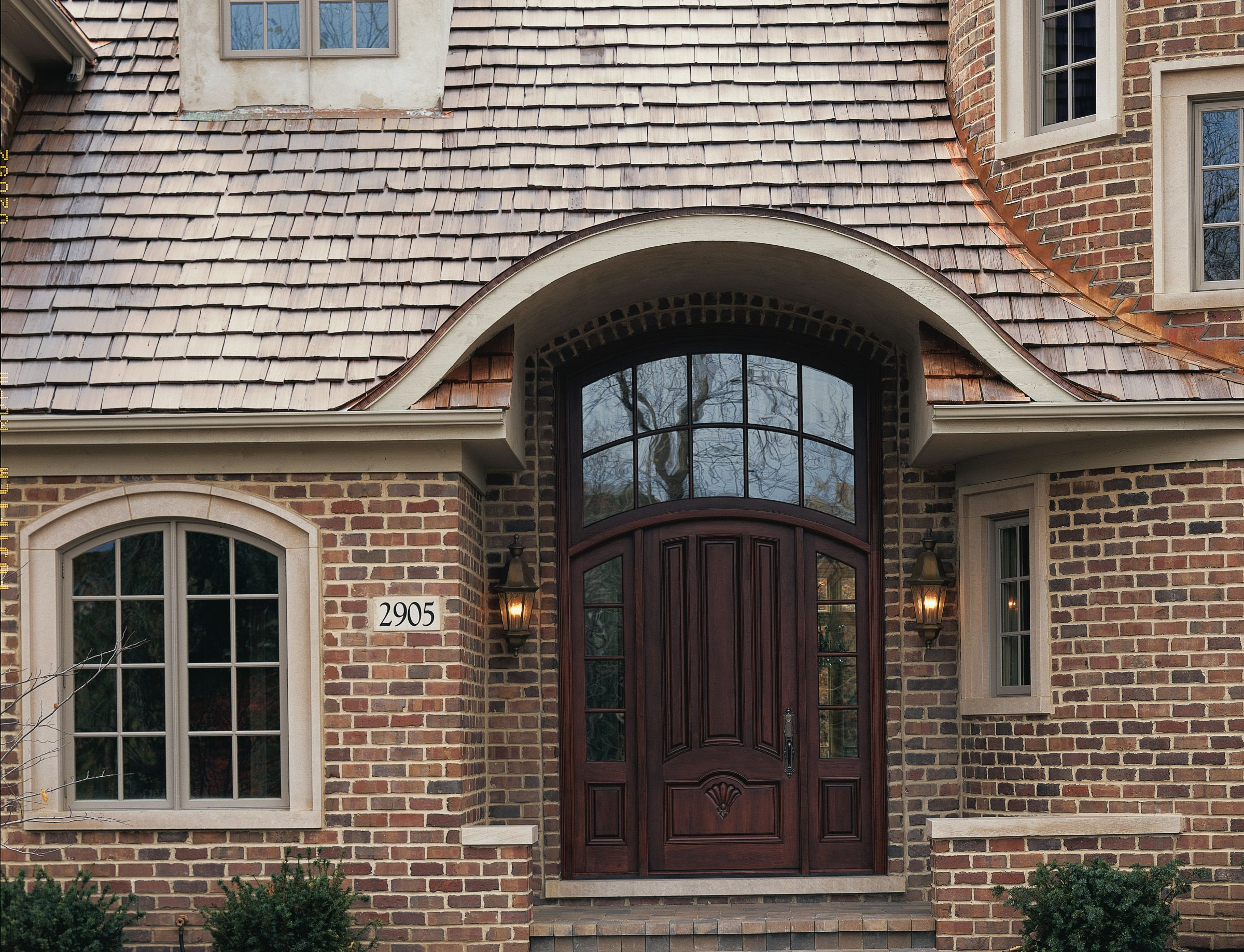 Custom Wood Mahogany Arched Entry Door Unit With Sidelights