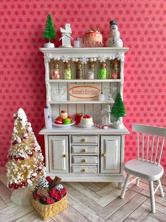 Dollhouse Christmas furniture miniature hutch miniature | Etsy #miniaturefurniture