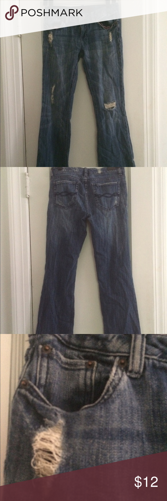 "Destroyed denim jeans 5 SHORT Destroyed denim jeans in great condition! 5 Short (I'm 5'3"") spandex cotton. Charlotte Russe Jeans"