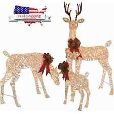 lighted outdoor christmas decorations reindeer yard ornaments vintage life size
