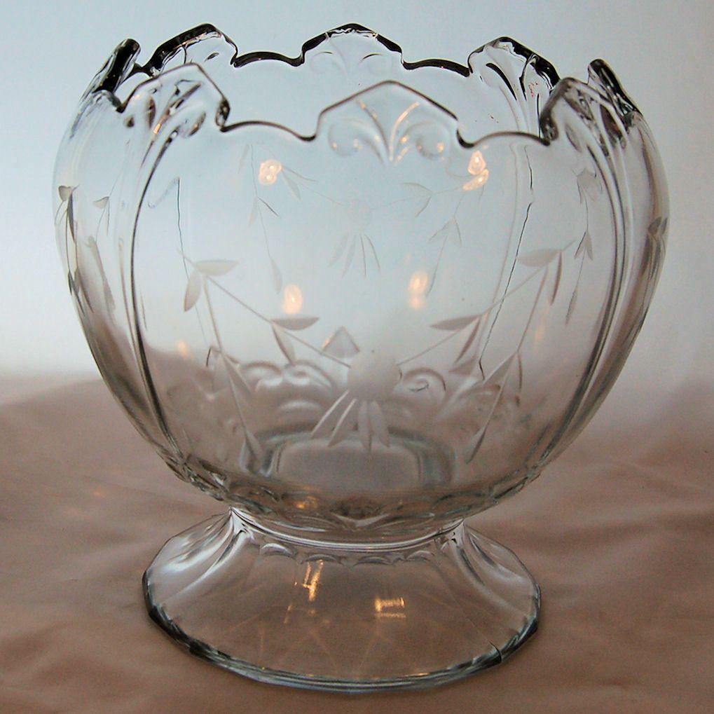 Early Pressed Glass Crystal Rose Bowl Vase Etched Floral Pattern Crystal Rose Steuben Glass Crystals