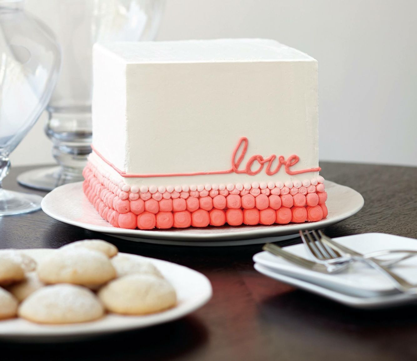 Beautiful Square Cake For Valentines Day