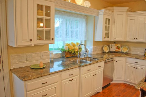 White Country Kitchen Cabinets white kitchen backsplash photos | white hand made tiles bring old