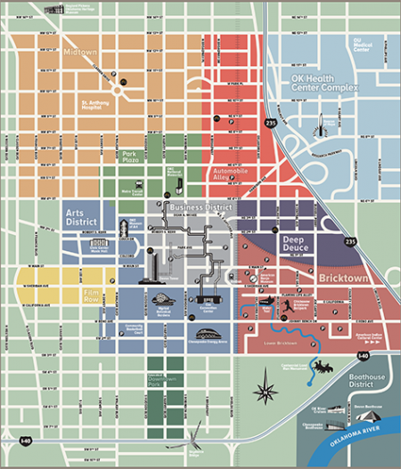 Maps | DowntownOKC | randomness | Downtown okc, Map, Oklahoma Bricktown Okc Map on