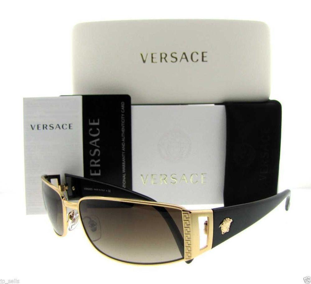 0000277f6811 Authentic Italy Versace Sunglasses Men Pilot Aviator Crystal Gold Black  Unisex