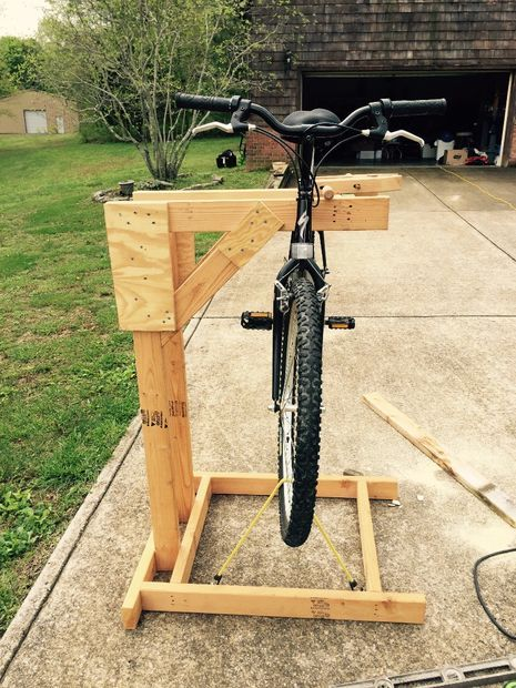 Homemade Wooden Bicycle Stand With Dual Mounting Pied Atelier