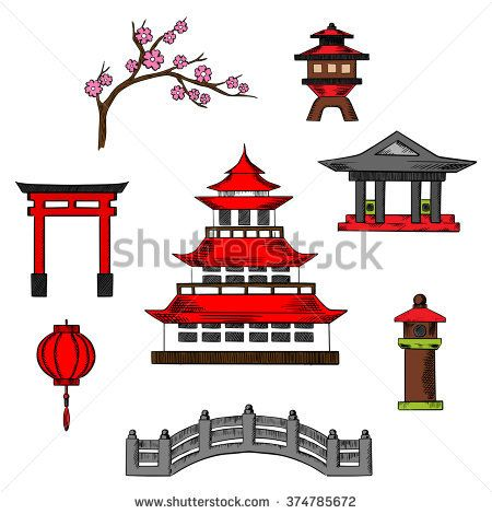 Japan Travel And Culture Icons Of Traditional Japanese Pagoda With Red Roof Surrounded By Sakura Blossoms