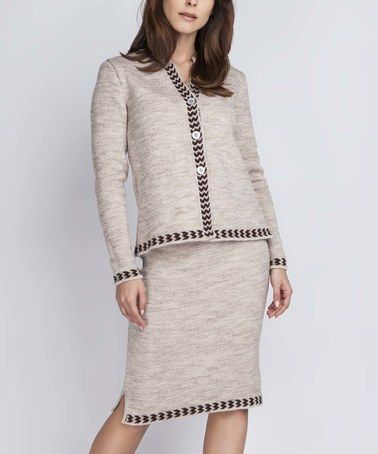 Look what I found on #zulily! Beige Jacket & Skirt Set #zulilyfinds