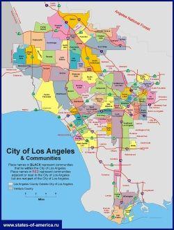 Karta Los Andzhelesa Po Rajonam In 2020 Los Angeles Map Los Angeles Travel Los Angeles