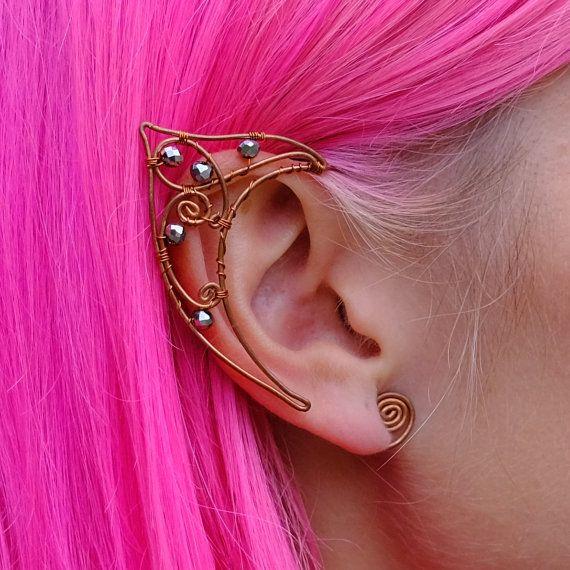 Lovely Delicate Elf Ear Cuffs Copper Wire Gold Elven Ears Wrap Fairy ...
