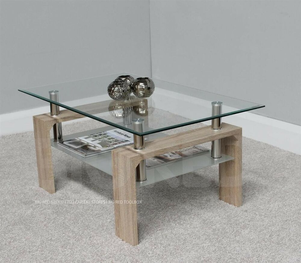 Rectangle Coffee Table With Clear Glass Top Chrome Natural Finish Ebay Coffee Table Rectangle Coffee Table Table