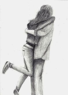 Pencil sketch of a girl and boy hugging