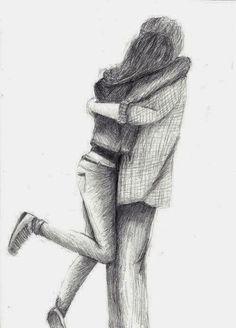 Easy Pencil Drawings Of People Hugging Couple Hugging In Love Love