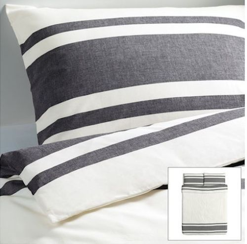 Ikea Bjornloka Black White Duvet Quilt Cover Twin Or Full Queen