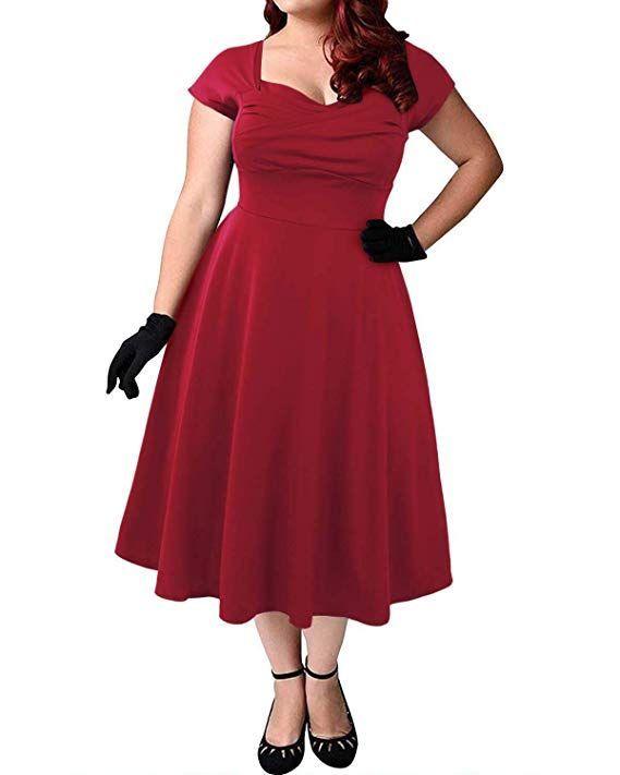 ABYOXI Damen Vintage A-Linie 50er Retro Rockabilly Kleid ...