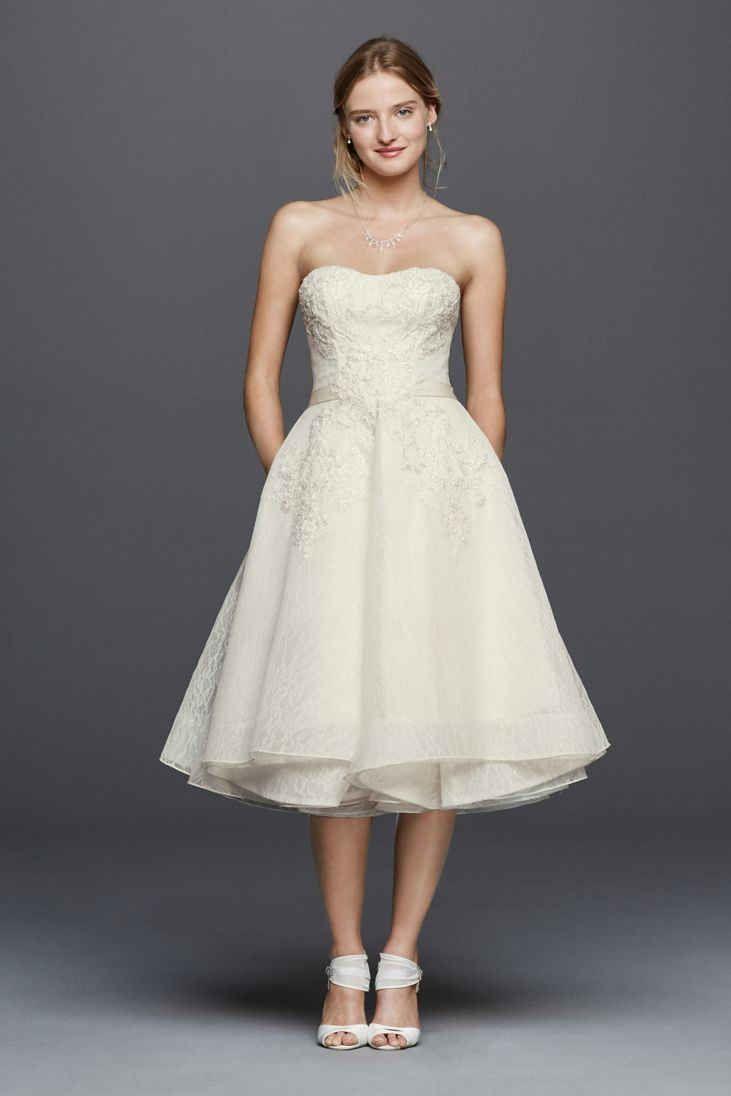21 Best Tea Length Wedding Dresses Strapless Lace Wedding Dress Tea Length Wedding Dress Amazing Wedding Dress [ 1096 x 731 Pixel ]