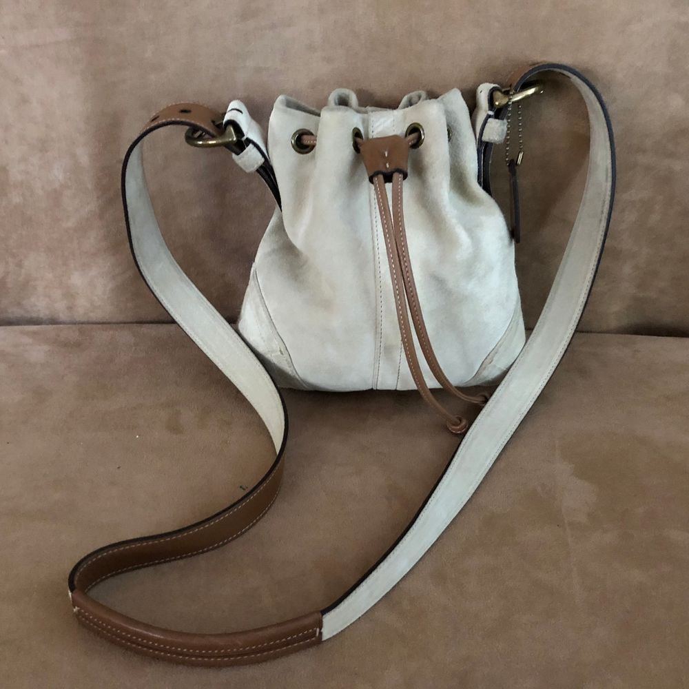Coach tan suede leather crossbody bag tote purse messenger