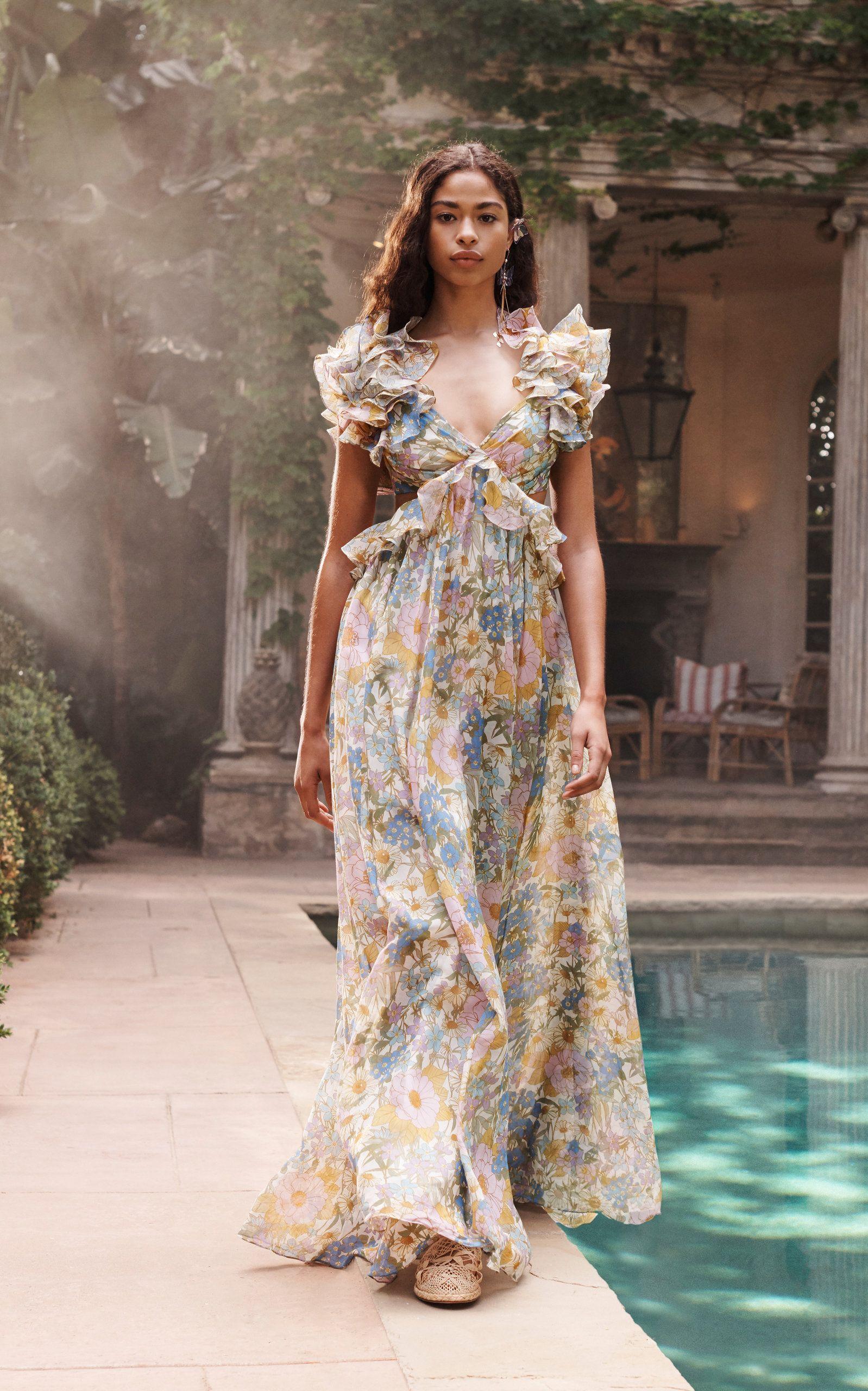 Zimmermann Ruffled Silk Gown Dresses Maxi Dress Fashion [ 2560 x 1598 Pixel ]