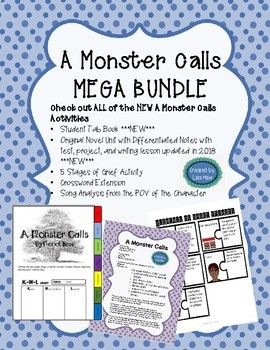 <p>***Check out ALL of the NEW A Monster Calls MEGA BUNDLE Activities***</p><p>25% off when all activities are BUNDLED!!!! </p><p></p><p>MEGA BUNDLE INCLUDES:</p><p>1. Original Novel Unit with Differentiated Notes with test, project, and writing lesson updated in 2018 </p><p>2. FREEBIE!!! 15 questions to be loaded into Quizizz or Google Forms</p><p>3. TAB Book</p><p>4. FINAL Test over literary application, plot, figurative language, conlflict, theme (15 questions for 44 points</p><p>5.  Stages o