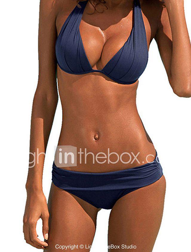 Women's Bandeau Bikini Solid Polyester Solid 2017 - $10.11