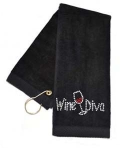Crystal Wine Diva Black Terry Cloth Golf Towel by Navika.  Buy it @ ReadyGolf.com