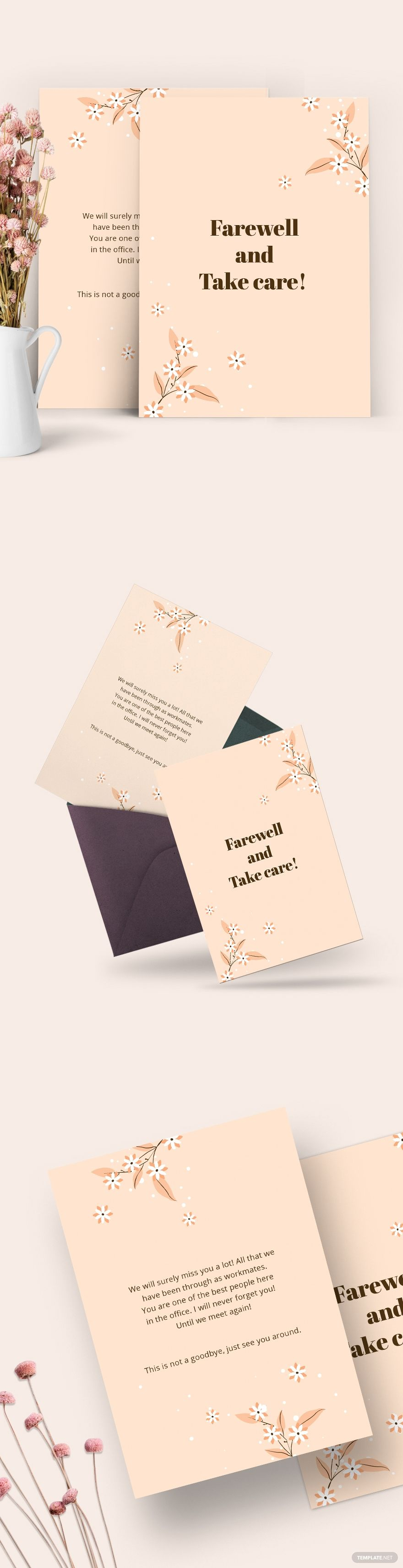 Simple Office Farewell Card Template Free Jpg Illustrator Word Apple Pages Psd Publisher Template Net Card Template Card Templates Free Farewell Cards