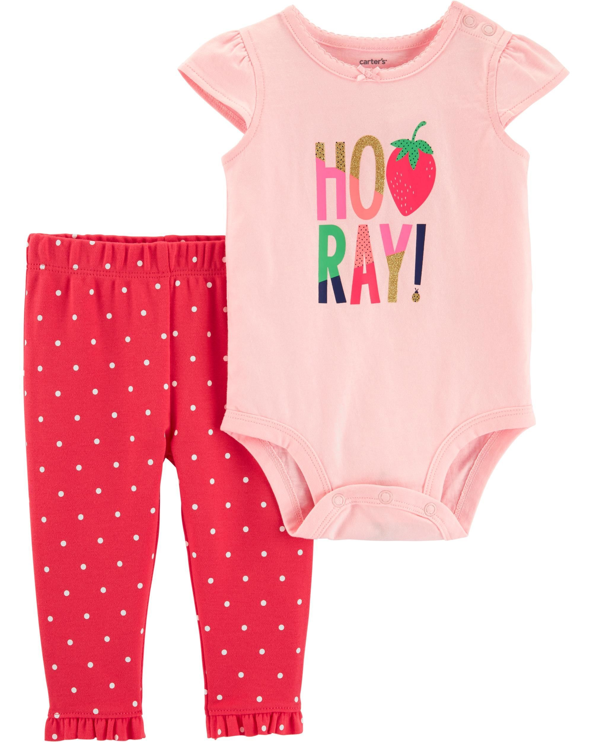 5a870a438 2-Piece Strawberry Bodysuit Pant Set | Baby Inc. | Carters baby ...