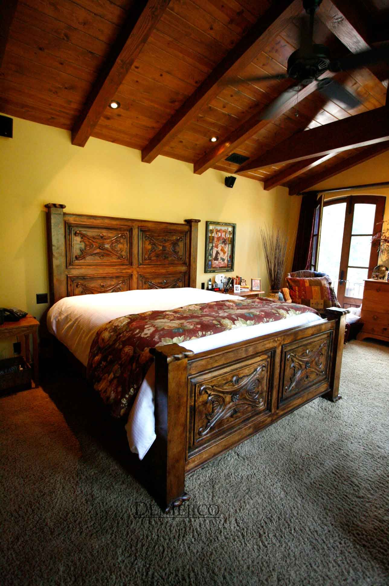 The Luis Quince Bed features hand carved Spanish designs ...